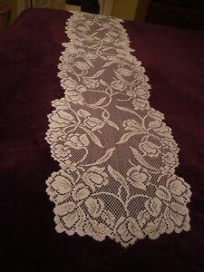 Lace Table Runner White Dutch Garden design  54 x 14