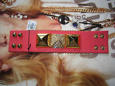 Juicy Couture Bracelet Crystal Pyramid Cuff Leather NEW $72
