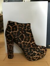 Michael Kors Leopard Print Calf-Hair Platform Ankle Boots (Good Condition)