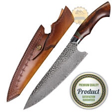 NEW HANDMADE DAMASCUS STEEL CHEF KNIFE KITCHEN KNIVES DESERT WITH LEATHER SHEATH