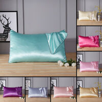 1x Stain Silk Pillow Case Pillow Cushion Smooth Bedding Pillowcase Solid Color