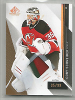 2014-15 UD SP Game Used Patch #35 Cory Schneider 3 CLR Patch Jersey Number 35/99