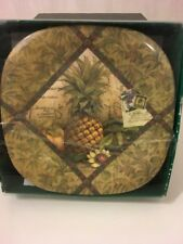 New Keller Charles Tropical Pineapple Melamine Appetizer Cocktail Plates Set 6