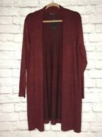 XL/1X/2X/ New Dark Red Black Heathered Long Cardigan Sweater Duster Pockets 68$