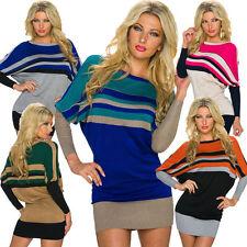 Gestreifte hüftlange Damen-Pullover & -Strickware aus Baumwolle
