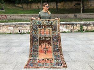HANDMADE  ANATOLIAN TURKISH TRIBAL OUSHAK SOFT RUST COLORS 3X5 SMALL AREA RUG