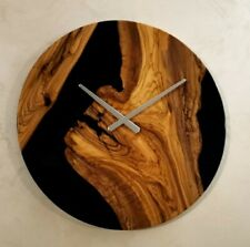 Orologio da parete in legno Di Ulivo e Resina Black