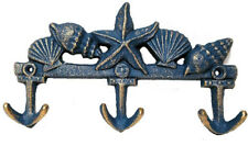 Coastal Beach Decor Seashells And Ship Anchors Cast Iron Wall Hooks