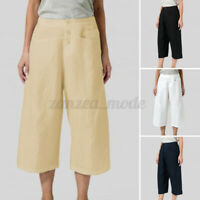 Womens High Waist Capris Crop Chino Pants Casual Loose Cotton Wide Leg Trousers