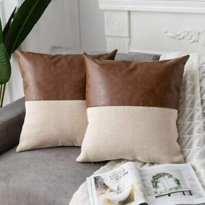 "2 DEZENE Faux Leather & Cotton Linen Throw Pillow Covers 18"" X 18"""