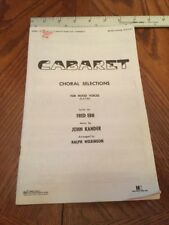 CABARET The Musical Vocal Score Song Book Paperback For Mixed Voices