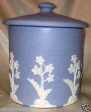 "ECANADA ART POTTERY CANISTER JAR WITH LID 5 1/4"" JASPERWARE WHITE ON BLUE"