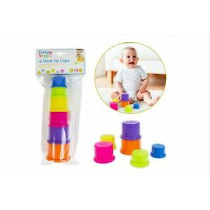 6 COLOURED STACK UP CUPS First Steps Ideal For 6 Months Baby Care Bright Stack