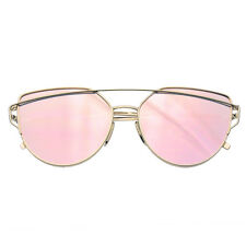 Womens Men Glasses Metal Flat Lens Vintage Fashion Mirrored Oversized Sunglasses