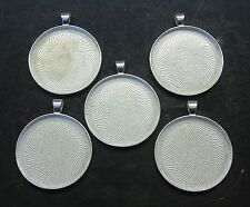 Craft Jewelry Supplies 5 Pendant Blanks Silvertone Metal Fused Glass Resin Cabs