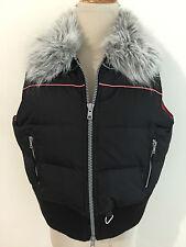 American Rag Cie Short Down Puffer Vest Black w/Gray Faux Fur Collar Size L