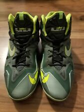 Nike Lebron XI 11 Green Gray Size 6.5Y 621712-302 Boys James Lakers volt