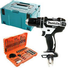 Makita DHP482 18V White Combi Drill + Case & 56 Piece Drill & Screwdriver Set