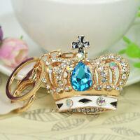 New Blue Crown Keyring Rhinestone Keyring Pendant Key Bag Chain Christmas Gift