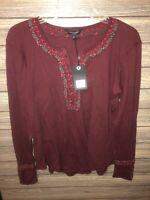 Womens Large Lucky Brand waffle knit maroon burgundy long sleeve shirt $49.50