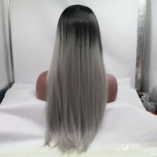 Ombre Silver Grey Synthetic Lace Front Wig Glueless Long black/grey