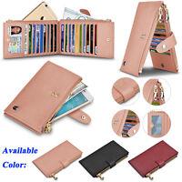 Genuine Leather Women Wallet With Credit Card Holder Zipper Purse RFID Blocking