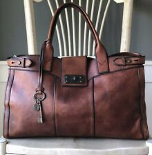 FOSSIL Vintage Reissue Weekender Cognac Brown Leather Satchel Overnight Bag XL