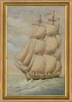 I.J. Huber - Signed & Framed Mid 20th Century Watercolour, Ship at Sea