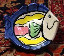 Small Fish-shaped Bowl; Studio Art Signed Pottery;treat your Cat!!