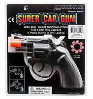 8 Ring Shot Cap Gun Police Series Pistol Revolver Black New Toy Replica NRA USA