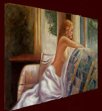 """Nude Oil Painting """"Nude Girl By the Window"""" Ready to hang 36""""x24"""""""