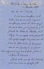 ÀBarthélemy Saint-Hilaire Lettre autographe signée Léon Renault V. Cousin Thiers