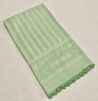 Vintage Mint Green Snowbell Floral Damask 22x30 Guest Hand Huck Towel (RF816)
