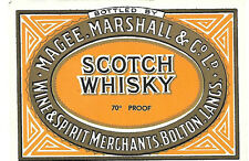 SCOTCH WHISKY 70% PROOF VINTAGE LABEL- MAGEE, MARSHALL & CO LTD BOLTON LANCS