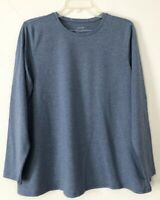 NEW PURE J. JILL 1X 4X L/S Pima Stretch-Cotton Crew-neck Tee Blue