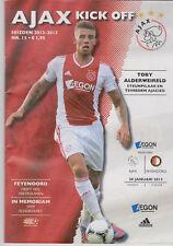 Programma / Programme Ajax Amsterdam v Feyenoord Rotterdam 20-01-2013