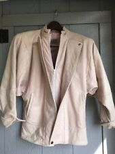Vtg 80s Real Leather Liz Roberts Natural Comfort Cropped Batwing Jacket Coat L