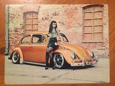 Tin Sign Vintage Volkswagen VW Bug Slammed With Model