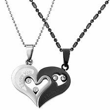 2pcs His & Hers Couples Gift Heart Pendant Love Necklace Set for Lover Valentine