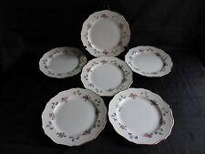 6 assiettes plate st amand l'amandinoise,motif floral et dorure