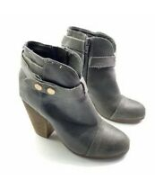 Steve Madden Arieel Leather Ankle Boots Gray Stacked Heel Buckle Strap Size 7M
