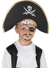 enfants capitaine pirate chapeau, noir, avec crâne & os croisés