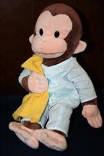 "GUND Curious George 16"" Striped Pajamas Yellow Blanket Stuffed Animal Toy"