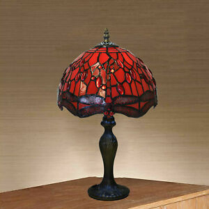 Dragonfly Handmade Stained Tiffany Glass Red Home Decor Table/Desk Bedside Lamp