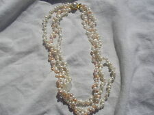 White/ pink Rice Pearl 3 strand 16 to 18 inch Necklace ret $220 NEW