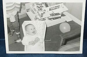 Photograph Christmas B&W VW camper Toy cars Baby opening Gifts Excited Child 342