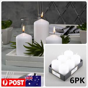 6x White Unscented Pillar Candles Votive Home Wedding Decor Event Votives Bulk
