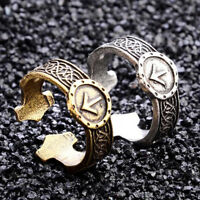 Men's Gothic Norse Viking Rune Ring Amulet Runic Nordic Adjustable Open Ring