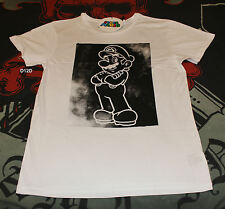 Nintendo Super Mario Mens White Black Printed Short Sleeve T Shirt Size XL New