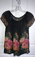 Anthropologie Fei Silk Sheer Black Floral Tunic Top Size XS Off Shoulder Elastic